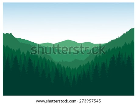 Vector landscape. Panorama of mountains. Valley(canyon). Three peaks. Green tones. Eps 10