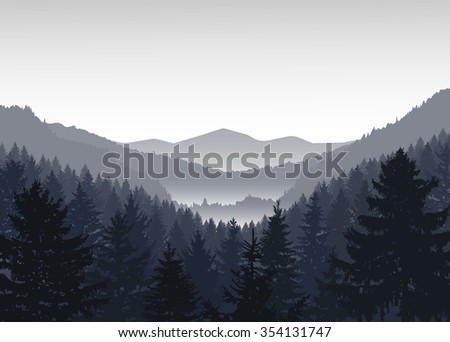 vector landscape panorama of