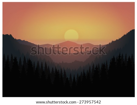 Vector landscape. Panorama of mountains. Valley(canyon). Three peaks.Orange and violet tones. Eps 10