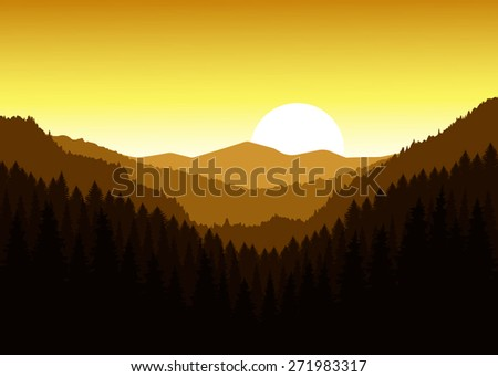 Vector landscape. Panorama of mountains. Valley(canyon). Three peaks. Sunset. Golden shades. Eps 10.