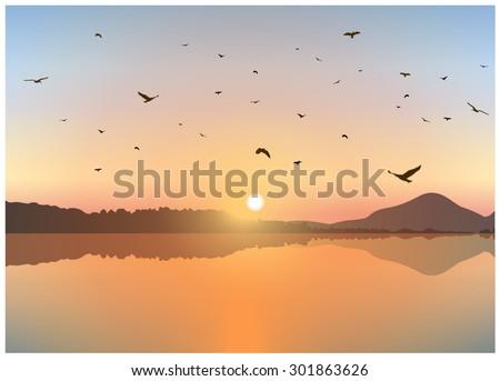vector landscape sunset on