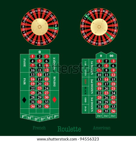vector layout of french and american Roulette table and wheel - stock vector
