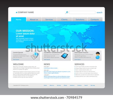 100% vector. 2011 modern website template. Ready to use webpage with logo, navigation, world map, icons, buttons, typography, search bar and other interface elements. Unique icons, unified style. - stock vector