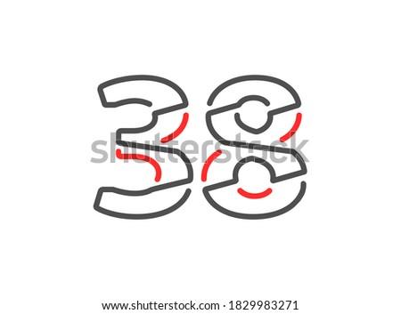 38 vector number modern trendy