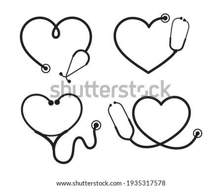 Vector nurse stethoscope silhouette Heart shaped stethoscope line frame Isolated on  background. Foto stock ©