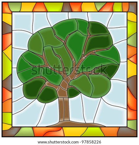 Vector of green tree in stained glass window.
