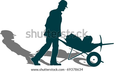 """vector of man's silhouette with work tools   """