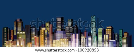 Vector of night city skyline, without gradients and transparency.