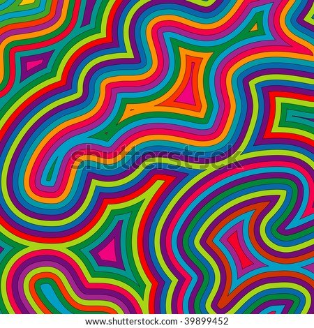 (Vector) Offset bright, retro psychedelic pattern. A Jpg version is also available.