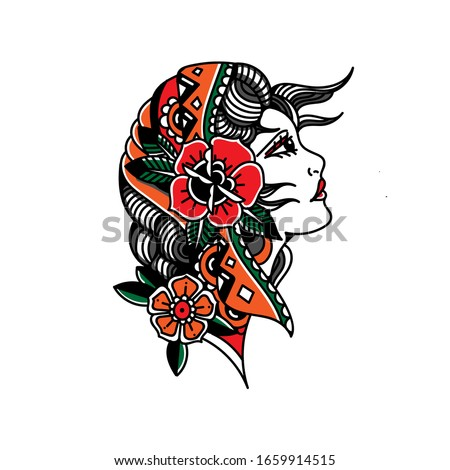 Vector Old School Style Tattoo Gypsy Stock Vector