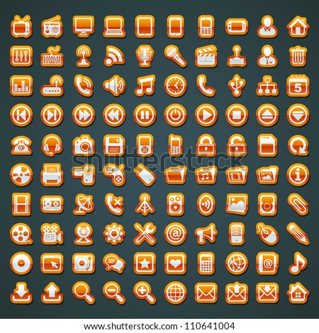 100 vector orange icons