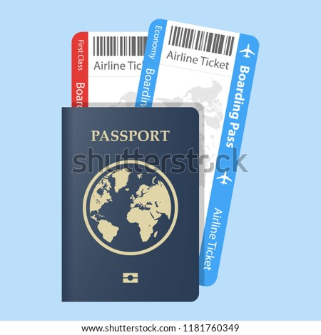 Vector passport with tickets  Air travel concept. Flat Design citizenship ID for traveler isolated. Blue international document - passports illustration