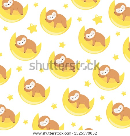 vector pattern with baby sloth