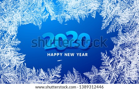 2020 Vector Patterns Made by the Frost. Blue Winter Background for Christmas Designs. Xmas Typographic Label for Holiday Greeting Cards, Party Banners and Posters. Icy Abstract Background.