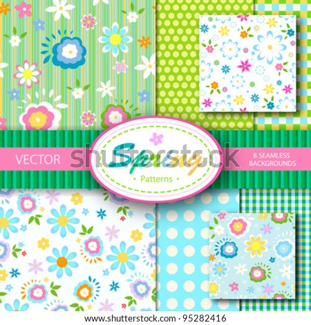 8 vector patterns set; spring  seamless backgrounds