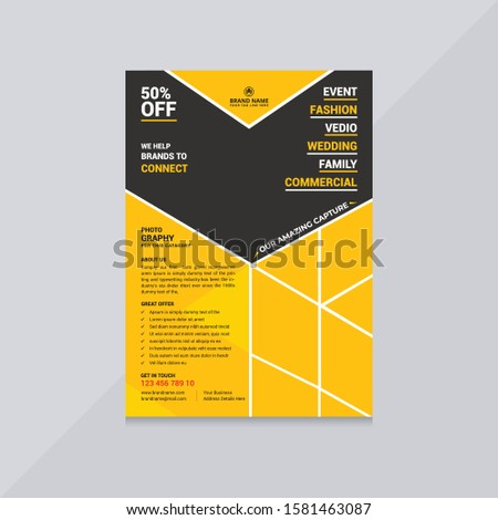 50% vector photography flyer and poster template