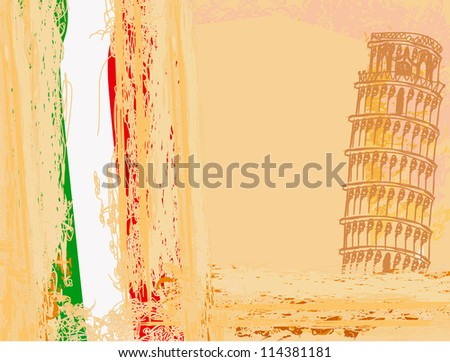 vector pisa tower grunge background