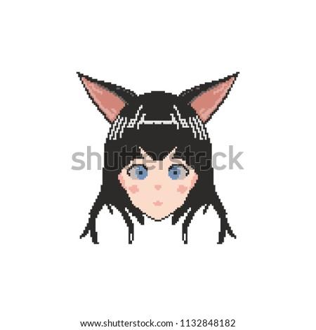 vector pixel art anime girl