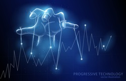 Vector polygonal illustration concept, the puppeteer's hand controls the graph, on a dark blue background, symbolizes secret management, manipulation, influence, authority, in business.