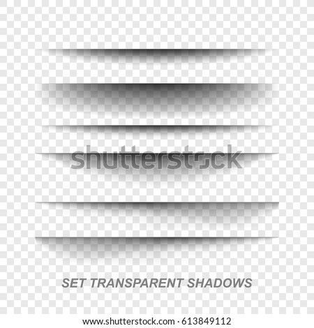 .Vector realistic shadows.Vector set of transparent realistic shadow.