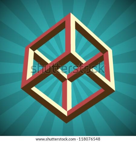 Vector Retro Cube Illusion