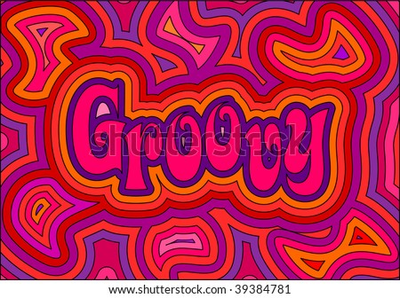 (Vector) 60's groovy retro psychedelic design. A jpg version is also available