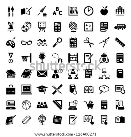 64 Vector School And Education Icons Set for web and mobile. All elements are grouped.