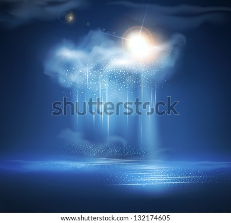 vector sea, night landscape with thunderstorm and light