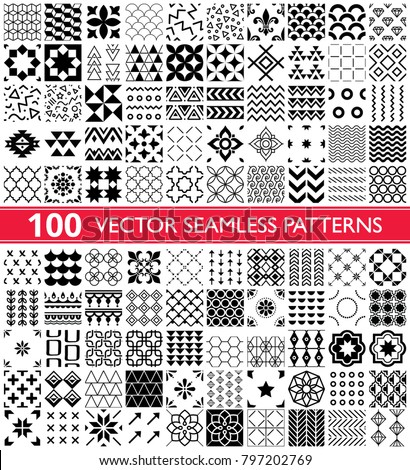 100 vector seamless pattern