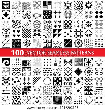 100 vector seamless pattern