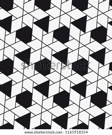 Vector seamless pattern. Modern stylish texture. Repeating geometric tiles. Composition with triangles.