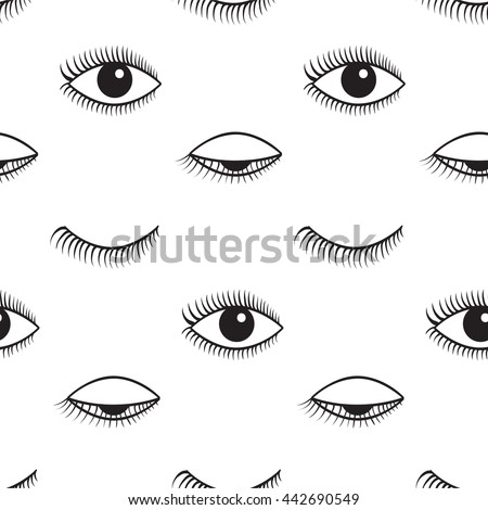Vector seamless pattern. Pattern of open and closed eyes.