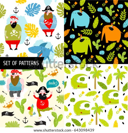 4 vector seamless pattern with pirate and animals.  cartoon characters. african animals, pirates and nature. crocodile, elephant, ocean, sea. Tropical, nature, green, light green, foliage. #643098439