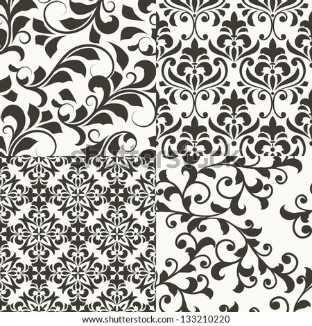 4 vector seamless  vintage floral patterns, fully editable eps 8 file with clipping masks, seamless patterns in swatch menu