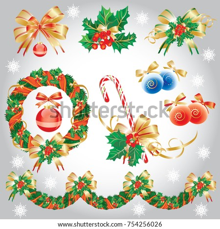 Vector set design elements, symbols of the new year and christmas. Snowflakes, Christmas wreath, Christmas garland, Christmas toys, balls, ribbons, bows, holly, caramel cane, christmass tree