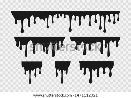 Vector set of  melting drops of various substances and liquids, paint,caramel, ink, chocolate  isolated on transparent  background