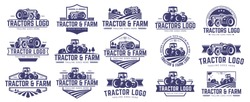 15 vector set of Tractor logo or farm logo template collection, suitable for any business related to farm industries. Simple and retro look.