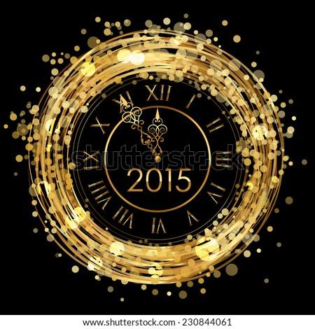 2015 Vector shiny New Year Clock