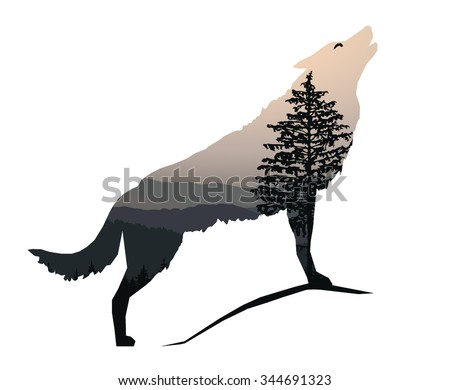 vector silhouette of howling