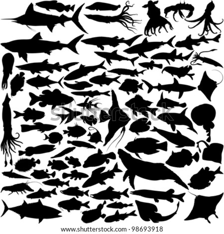 74 Vector Silhouettes of fish and sea animals isolated on white