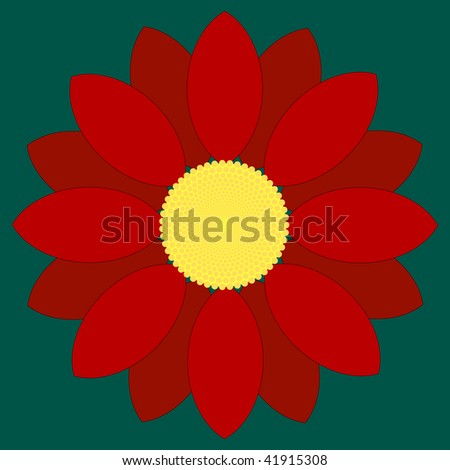 (Vector) Simple red flower design.  A Jpg version is also available.
