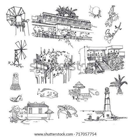 Vector sketches of the island of Crete (Greece). The architecture of hotels, windmills, fish and turtle, beach, landscape elements, fruit and plants. Hand drawn illustration.