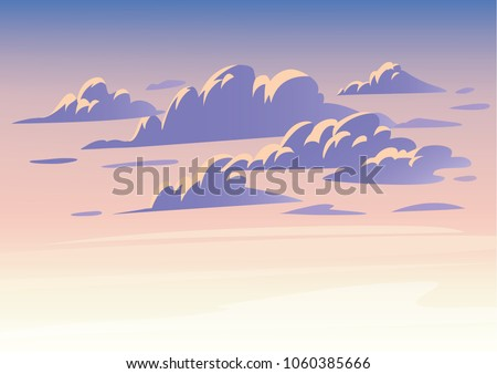 vector sky clouds flat clean