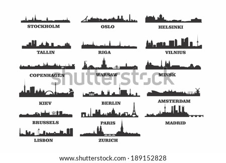 vector skylines of european