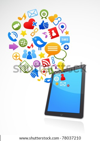 vector smart phone social media icons