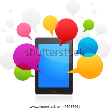 vector smart phone with speech bubbles