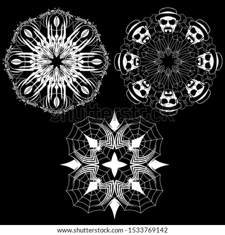 3 vector snowflakes consisting
