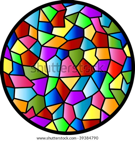 (Vector) Stained Glass design. A Jpg version is also available. - stock vector