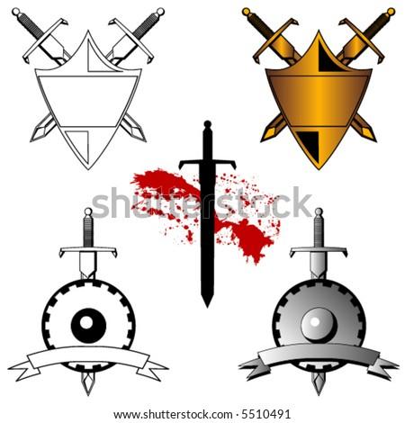 3 Vector sword and shield designs