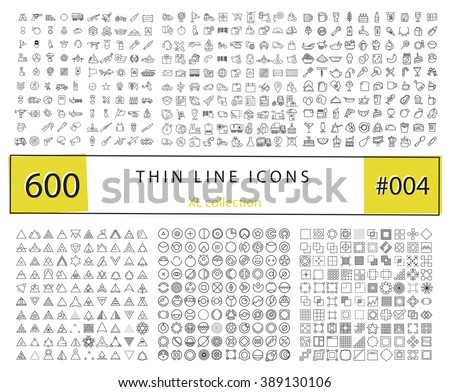 600 Vector thin line icons set for infographics, mobile UX/UI kit and print design. Include: food and drink, army and military, transport and logistics, geometric shapes